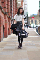 black Zara bag - crimson Bocage boots - eggshell Chicwish top