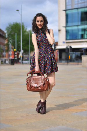 david jones bag - crimson Bocage boots - navy flowers Chicwish dress