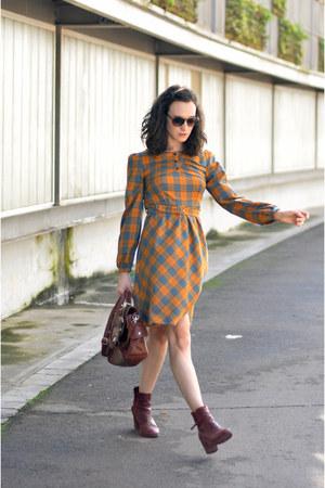 burnt orange tartan midi Titis Clothing dress