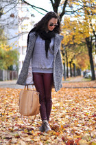 dark brown Zara boots - gray Zara coat - silver Zara sweater