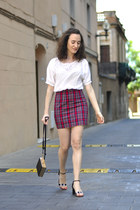 ruby red Front Row Shop skirt - black Choies bag - black Chie Mihara sandals