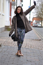 brown Zara boots - brown Even and Odd coat - black Zara pants