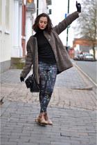 brown Zara boots - brown Even and Odd coat - black Zara pants