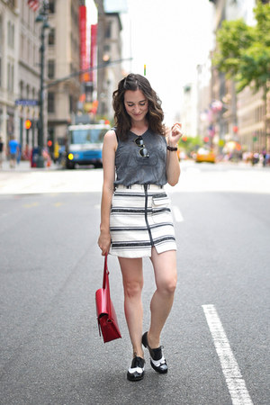 white Topshop skirt - black Clarks shoes - red PepaLoves bag