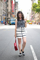white Topshop skirt - black Clarks shoes - red PepaLoves bag