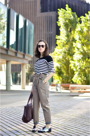 heather gray leather Zara pants - crimson tote Zara bag