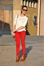 red Zara pants - tawny bullboxer boots - white Zara sweater