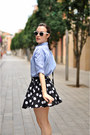 Blue-gingham-blackfive-shirt-black-leather-parfois-bag
