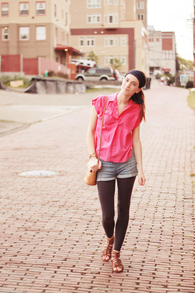 charcoal gray f21 leggings - navy thrifted scarf - burnt orange thrifted purse -