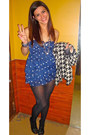 Blue-polka-dots-abercrombie-and-fitch-dress-black-chanel-necklace