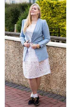 sky blue Issue 13 blazer - white asos skirt - black Ralph Lauren flats