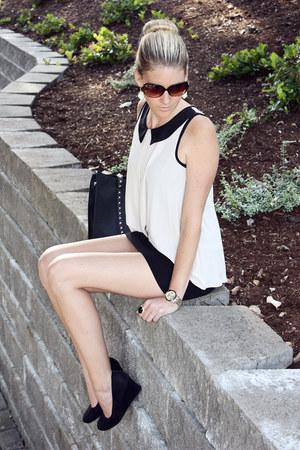 black Forever 21 bag - eggshell Forever 21 shirt - black H&M skirt