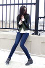 Black-forever-21-boots-navy-cheap-monday-jeans-green-forever-21-jacket