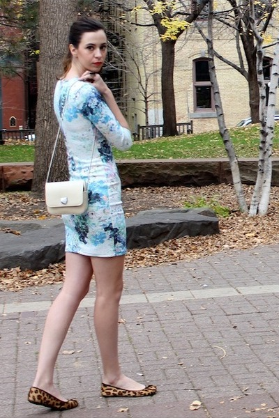 light blue H&M dress - off white Zara bag - bronze lauren ralph lauren flats