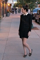 black sweater asos dress - white Theory dress - camel leopard print Zara loafers