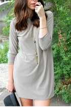 beige Hackwith Design House dress - black flat brim H&M hat