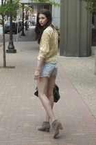 dark khaki Carlos boots - black JCrew bag - light blue Forever 21 shorts