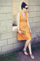 black cat eye Target sunglasses - orange v-neck a-line Anthropologie dress