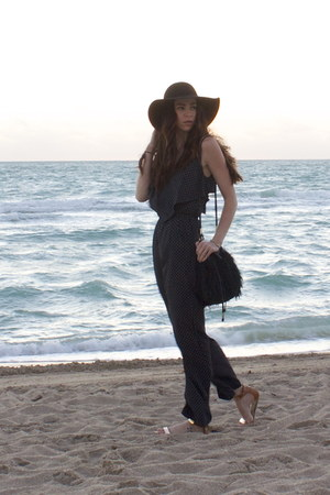 black wide brim hat Target hat - black H&M bag - navy Topshop romper