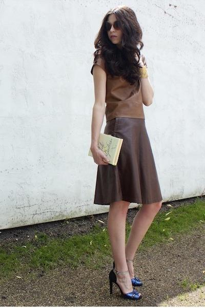 dark brown H&M skirt - eggshell kate spade bag - peach vintage sunglasses