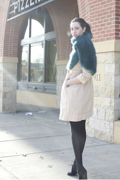 light pink BCBG coat - teal faux fur Express scarf - black Target heels