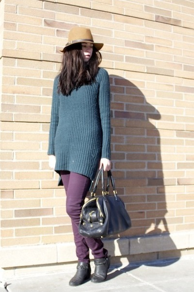 black Forever 21 boots - teal asos dress - purple skinny Paige Denim jeans