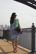black JCrew bag - chartreuse Anthropologie dress - black Target sunglasses