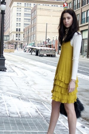 mustard Rachel by Rachel Roy dress - black faux feather Urban Outfitters jacket