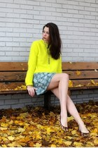 teal white patterned Rachel by Rachel Roy dress - yellow neon fuzzy H&M sweater