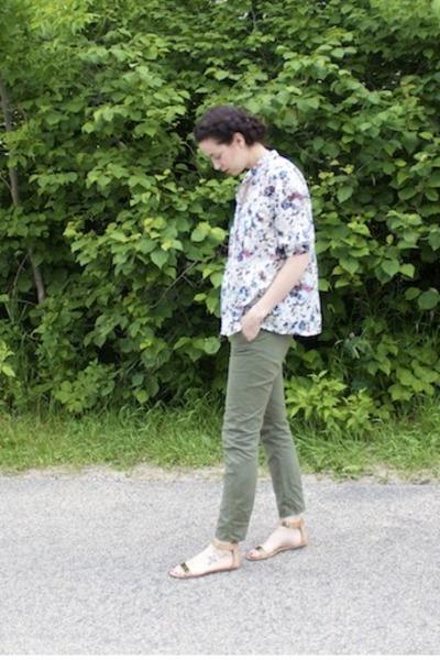 white MNG by Mango top - army green cargo casual rag & bone pants