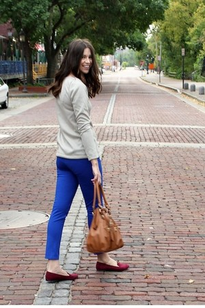 blue ankle asos pants - silver sweater Hackwith Design House top