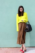 yellow neon fuzzy H&M sweater - black JCrew bag