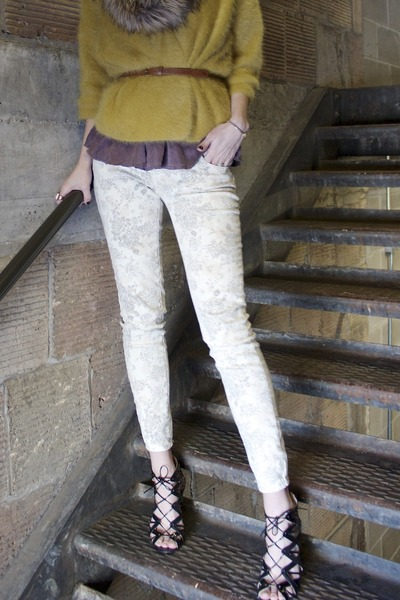 white Target jeans - beige infinity fur Target scarf - mustard H&M cardigan