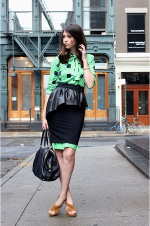 black Zara shirt - chartreuse vintage dress - black JCrew bag