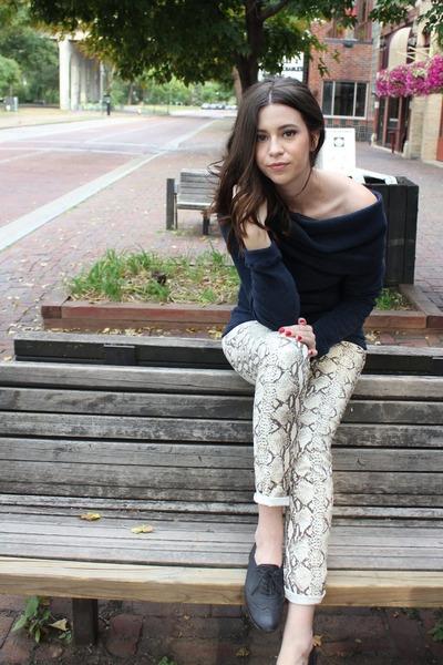 snakeskin H&M pants - cowl neck Hackwith Design House sweatshirt