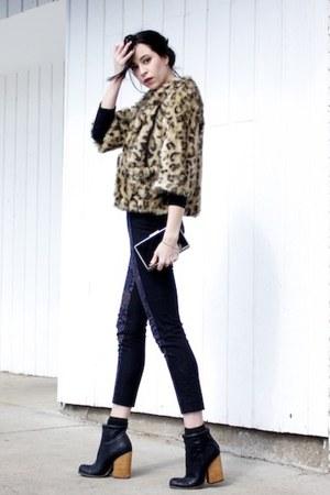 black NYLA boots - camel Anthropologie coat - black Target sweater