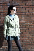 black Remain skirt - olive green military JCrew jacket