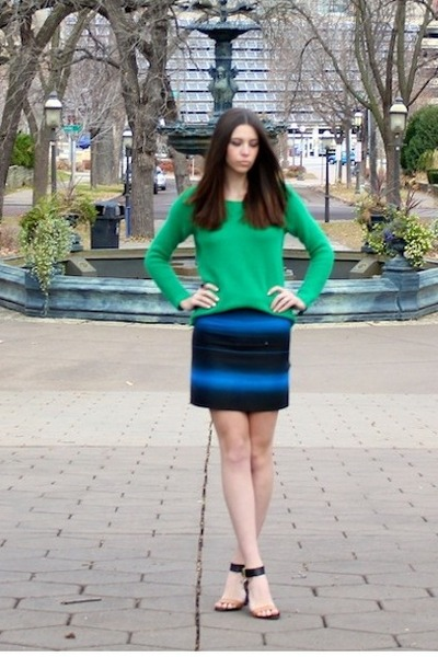 green honeycomb madewell sweater - blue ombre stripes Marc by Marc Jacobs skirt