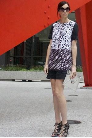 black Target sunglasses - white  dress - silver H&M bag