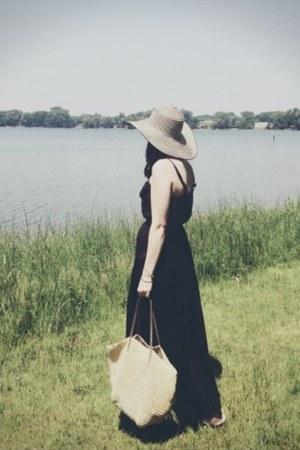 black Target romper - beige Target hat - beige straw JCrew bag