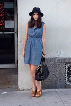 charcoal gray wide brim hat - sky blue Target dress - black JCrew bag