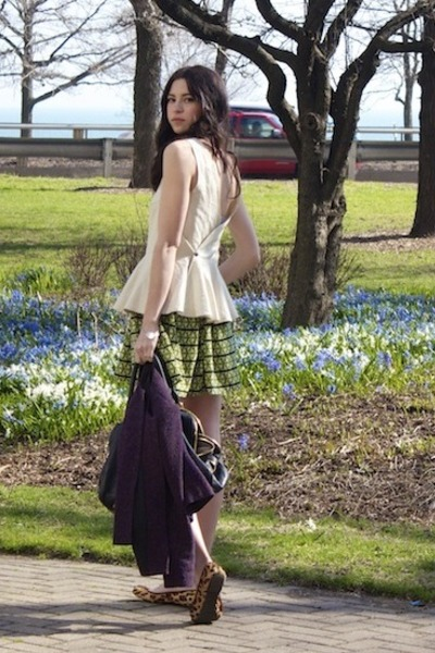 chartreuse primp skirt - deep purple Theory jacket - black JCrew bag