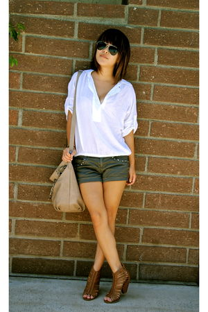 white Forever 21 blouse - green Zara shorts - brown shoes - beige Zara purse