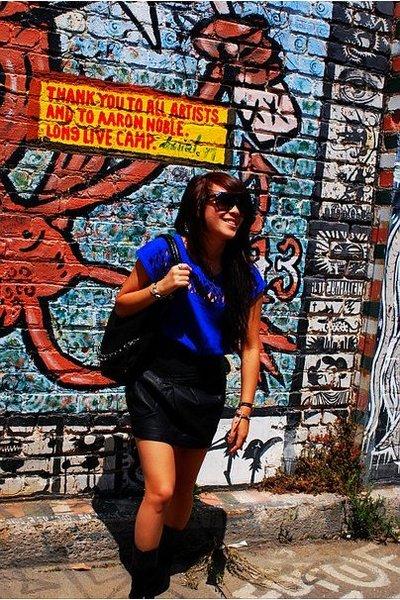 Forever 21 blouse - Forever 21 skirt - boots - purse