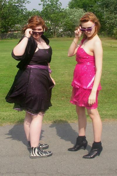 pink dresses purple dresses black boots black shoes