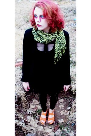 green - black issac mizrahi jacket - black shirt - black leggings - black dress