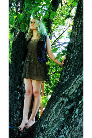 green lace rue21 dress - vintage leather vest