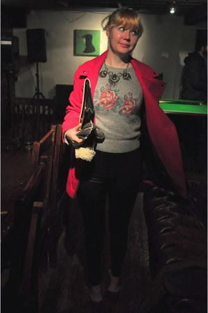 black leather Dorothy Perkins leggings - dark gray new look necklace