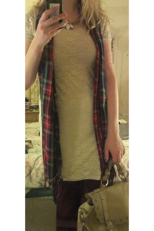 tartan Primark scarf - white lace H&M dress - camel satchel Accessorize bag