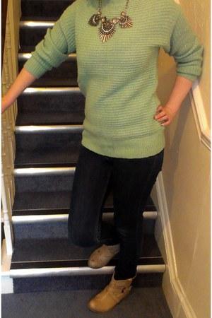 navy skinny jeans Primark jeans - aquamarine mint Primark jumper